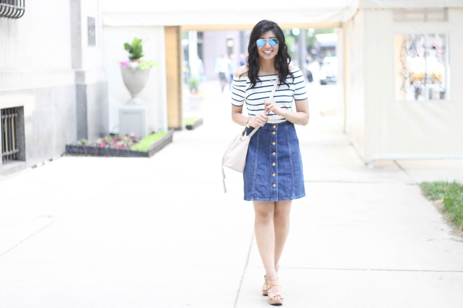 2f1bd9c158d Top  Asos Skirt  J.Crew Sunglasses  Ray Bans Bag  J.Crew Factory (under   50) Watch  c o The Camden Watch Compay Shoes  Me Too (old)