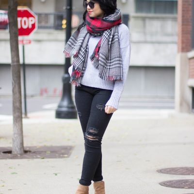 Oversized Reversible Plaid Scarf