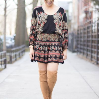 Mini Dress + Over the Knee Boots