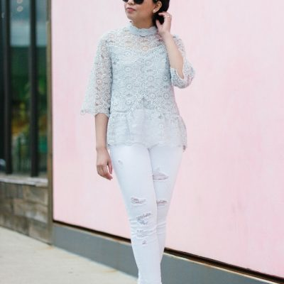 White Distressed Jeans and Lace for Spring