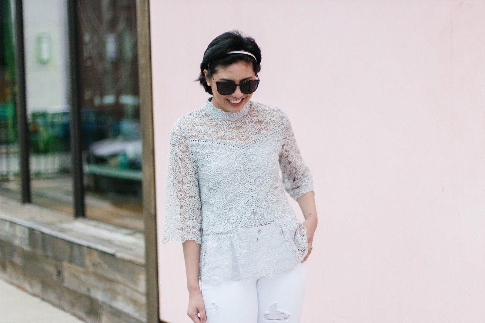 How wearing white distressed jeans and a lace top is perfect for a Spring outfit.