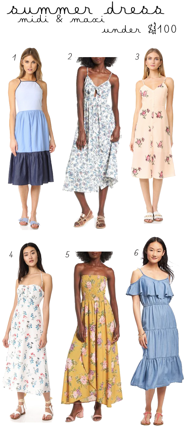 Summer Midi and Maxi Dresses for under $100