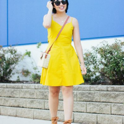 Yellow Open Tie-Back Dress