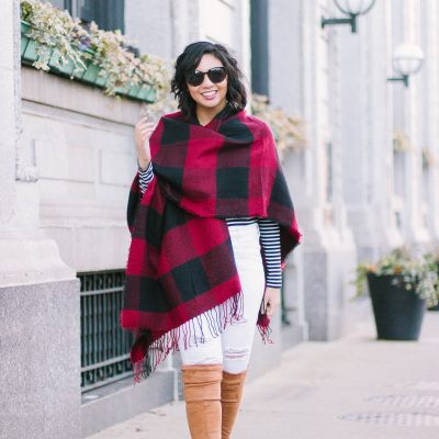 Buffalo Plaid Poncho Is The Best Thing To Wear For The Holidays