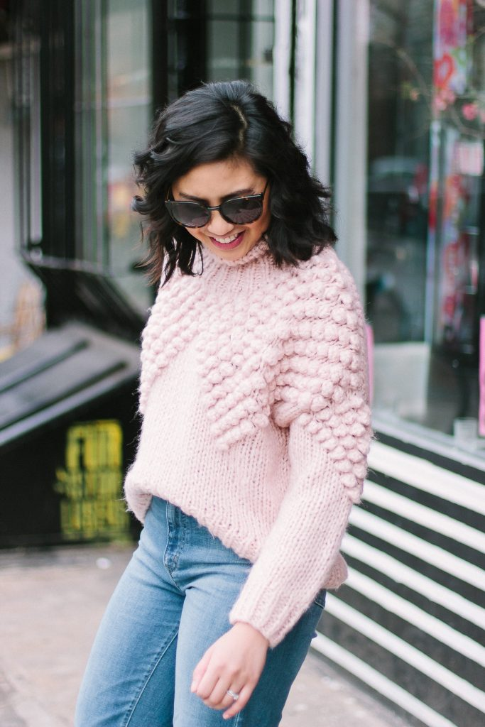 The Cutest Pink Pom Pom Sweater and How to Wear Cropped Pants in the Winter