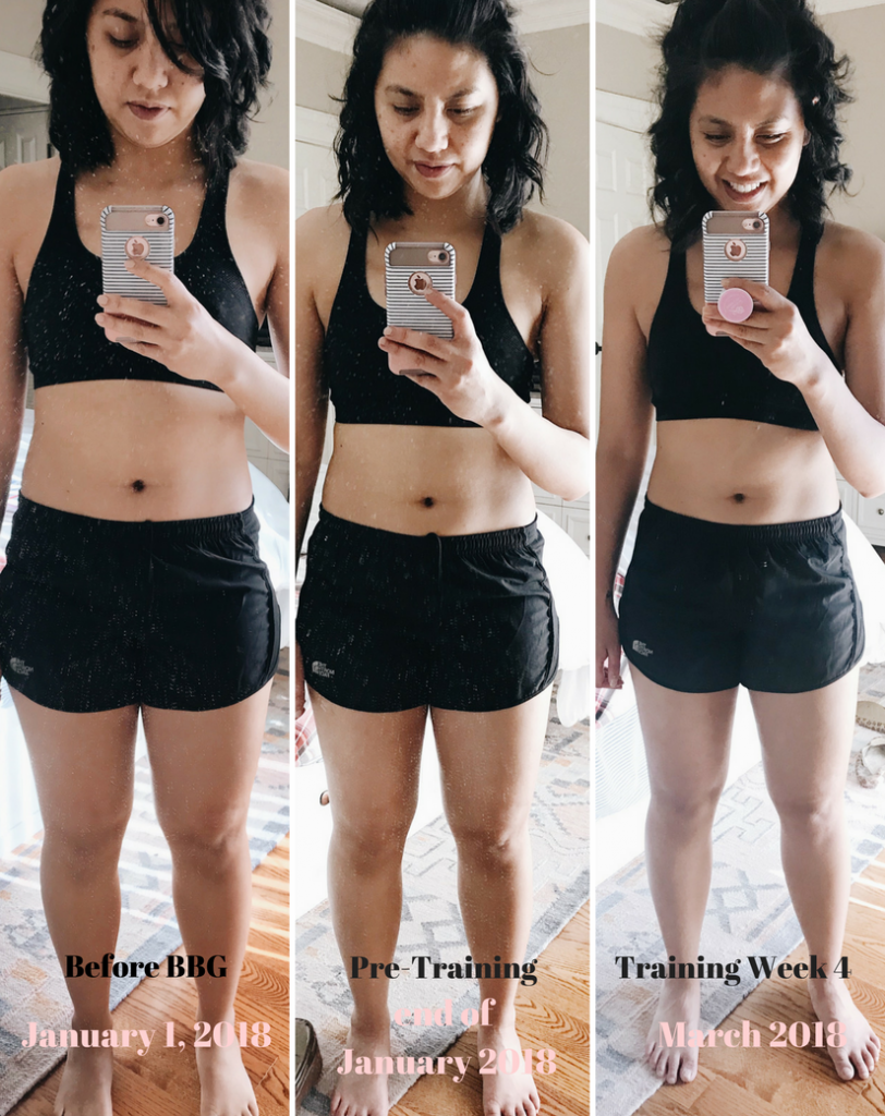 Update on My BBG Fitness Journey Weeks 1-4.