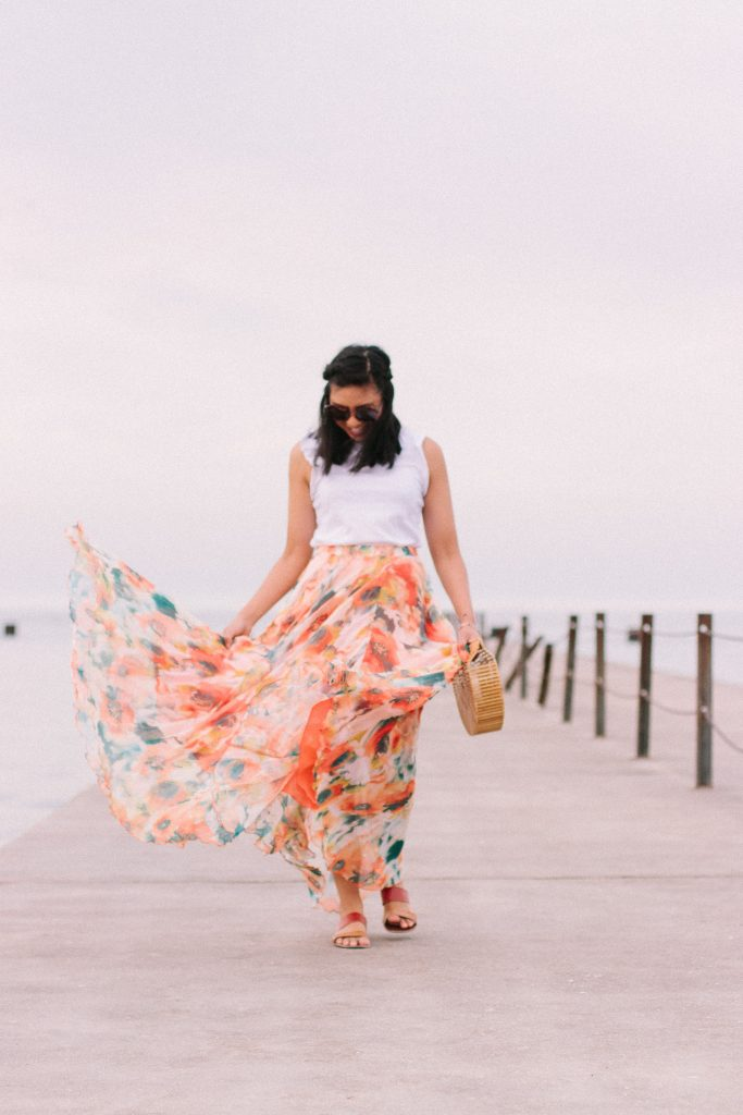 A Year Comparison In A Maxi Skirt. How to Wear a Maxi Skirt.