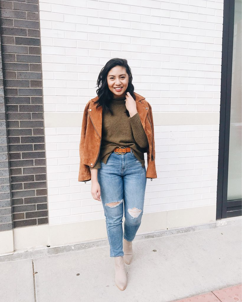 Real Weekend Outfits - What to Wear on the Weekend - Suede Moto Jacket