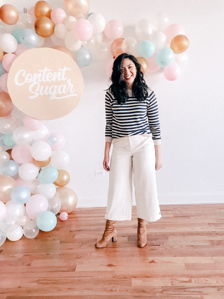 Real Weekend Outfits - striped sweater and white wide leg pants