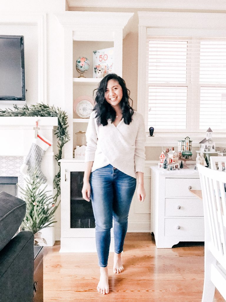 Real Weekend Outfits - Wrap Sweater and Madewell Jeans.