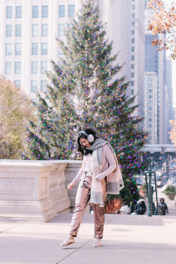 How to Create a Blush Holiday Outfit. Wearing Rollie Nation shoes - the lightest and most comfortable loafers.
