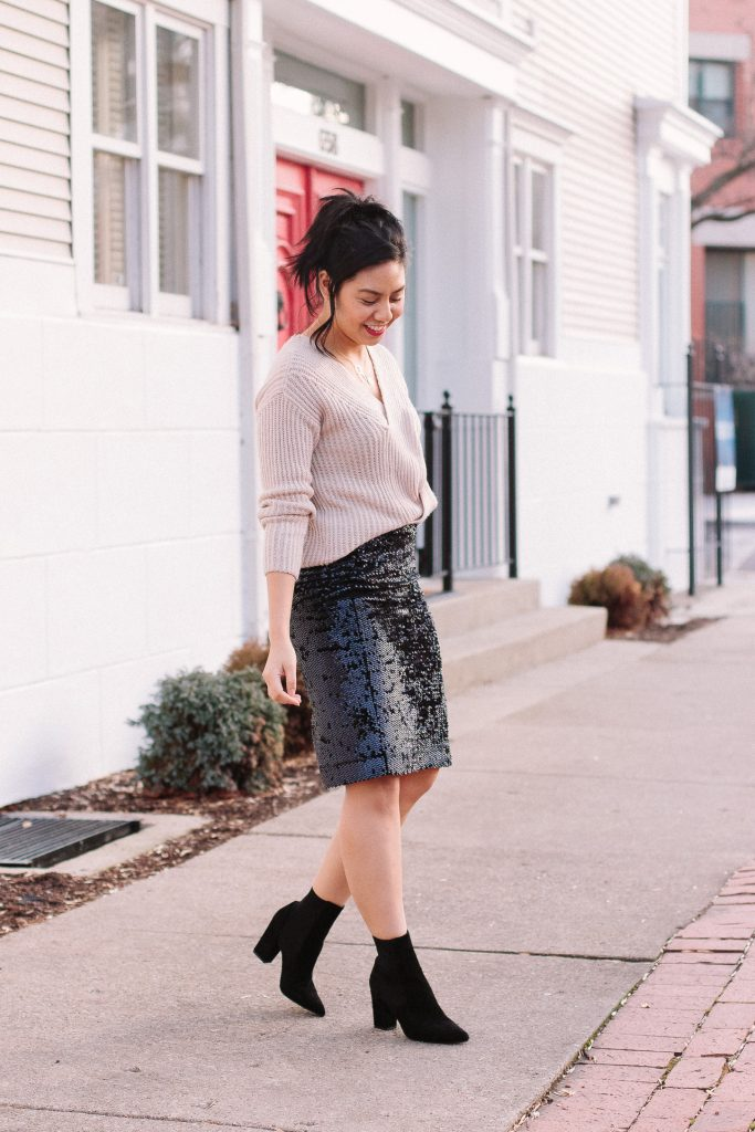 My Favorite Way to Wear A Sequin Pencil Skirt. Cozy Knit sweater and sequin pencil skirt outfit.