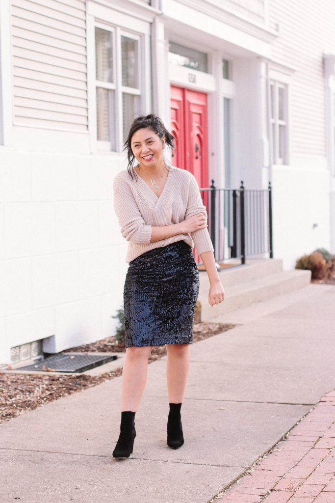 00135ae31284 My Favorite Way To Wear A Sequin Pencil Skirt - RD's Obsessions