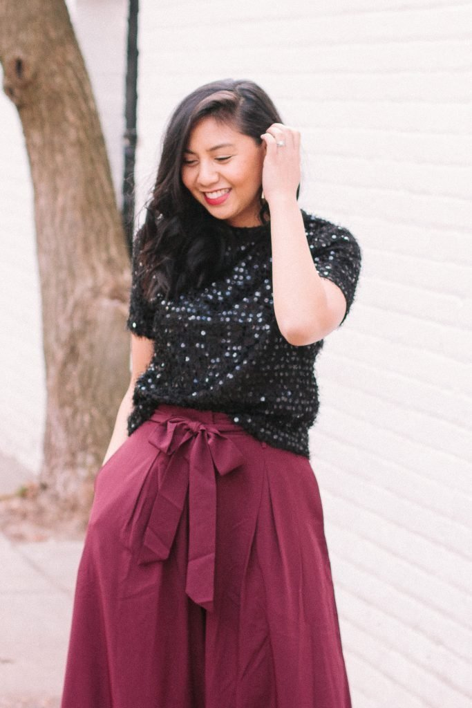 How to Wear Sequins & Wide-Leg For The Holidays. NYE Outfit
