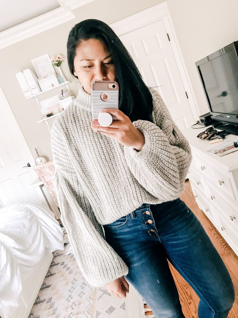 Amazon Sweaters Under $35. A Balloon Sleeve Loose Knit Sweater.
