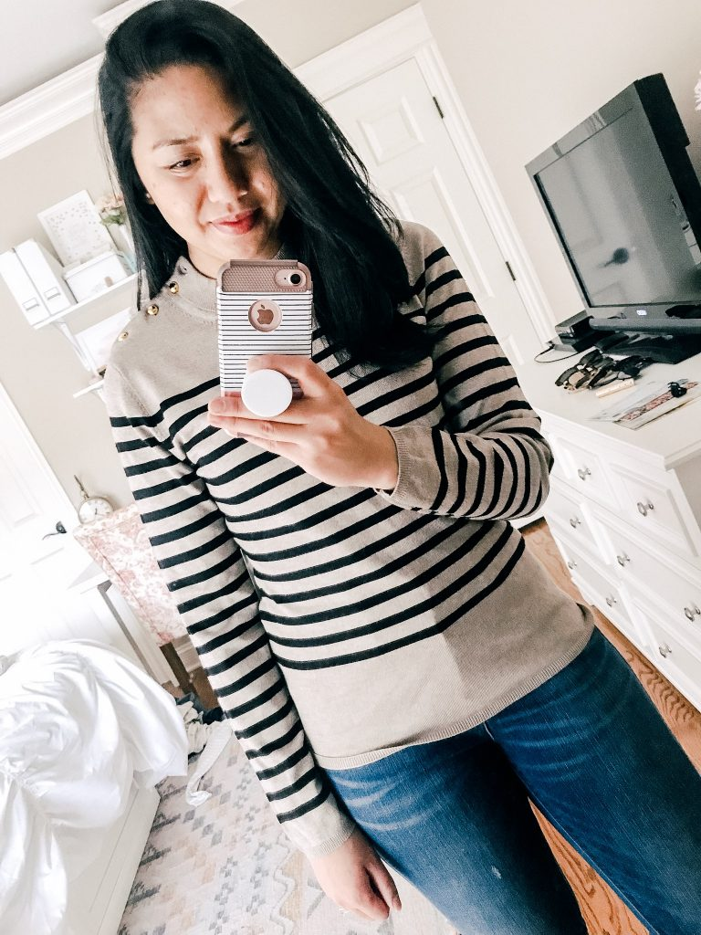 Amazon Sweaters Under $35. A Striped Mocked Turtleneck.