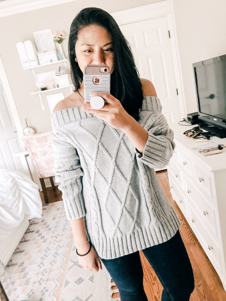$35. A Off The Shoulder Cable Knit Sweater.