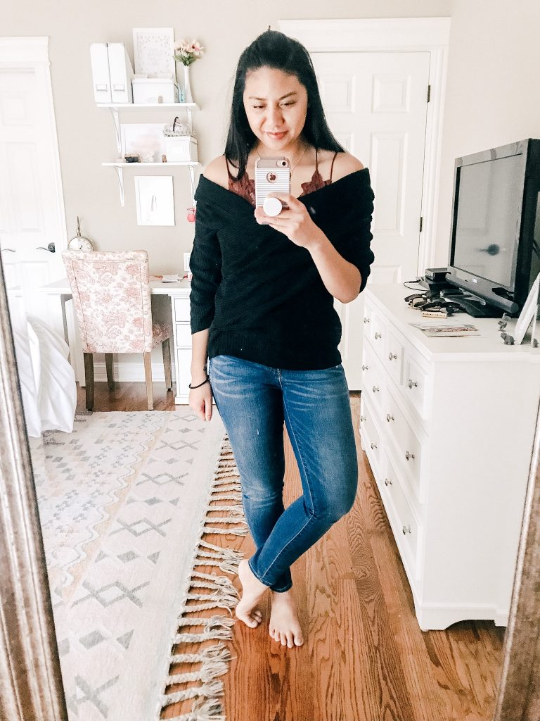 Amazon Sweaters Under $35. A Off Shoulder Crossover Sweater.