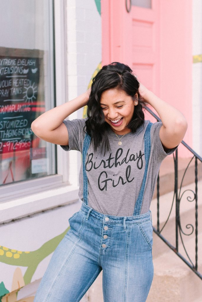Rach is featuring a Birthday Girl Tee from Shop Hello Fashion and Asos Overalls