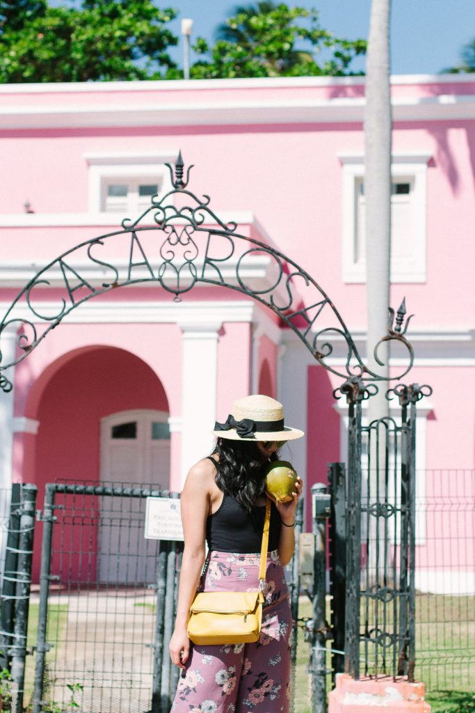 What I Wore In Puerto Rico - Floral Wide Leg Pants & Black Bodysuit.