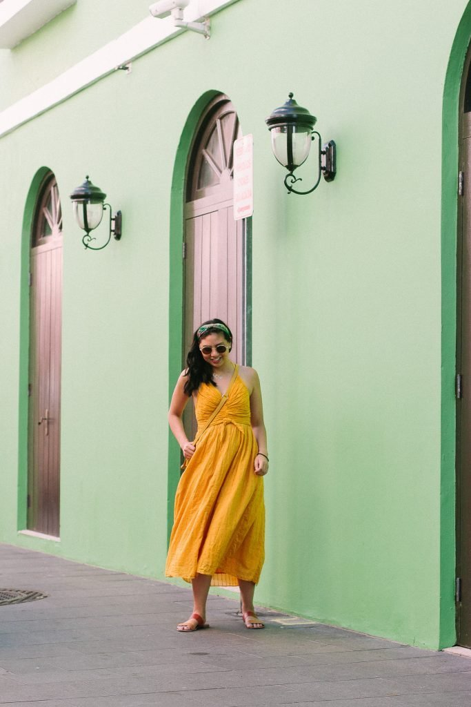 What I Wore In Puerto Rico - Flowy Free People Mustard Yellow Dress
