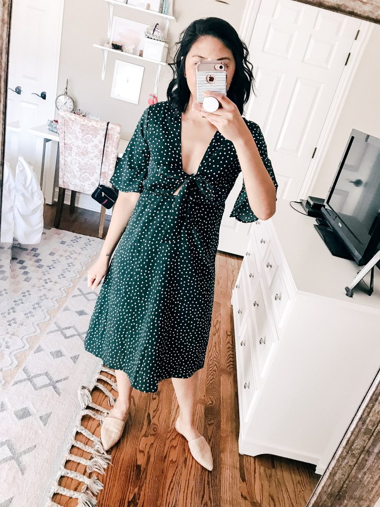 Polka Dot Tie Front Swing Dress