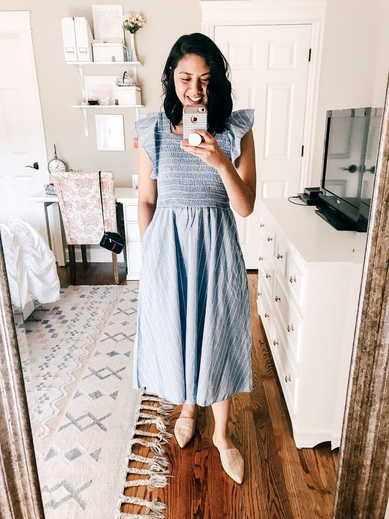 Linen Ruffle Cap Sleeve Long Dress