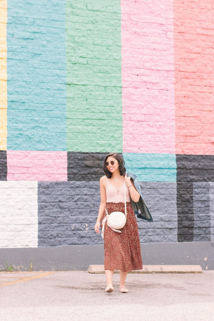 How to style a brown polka dot skirt.