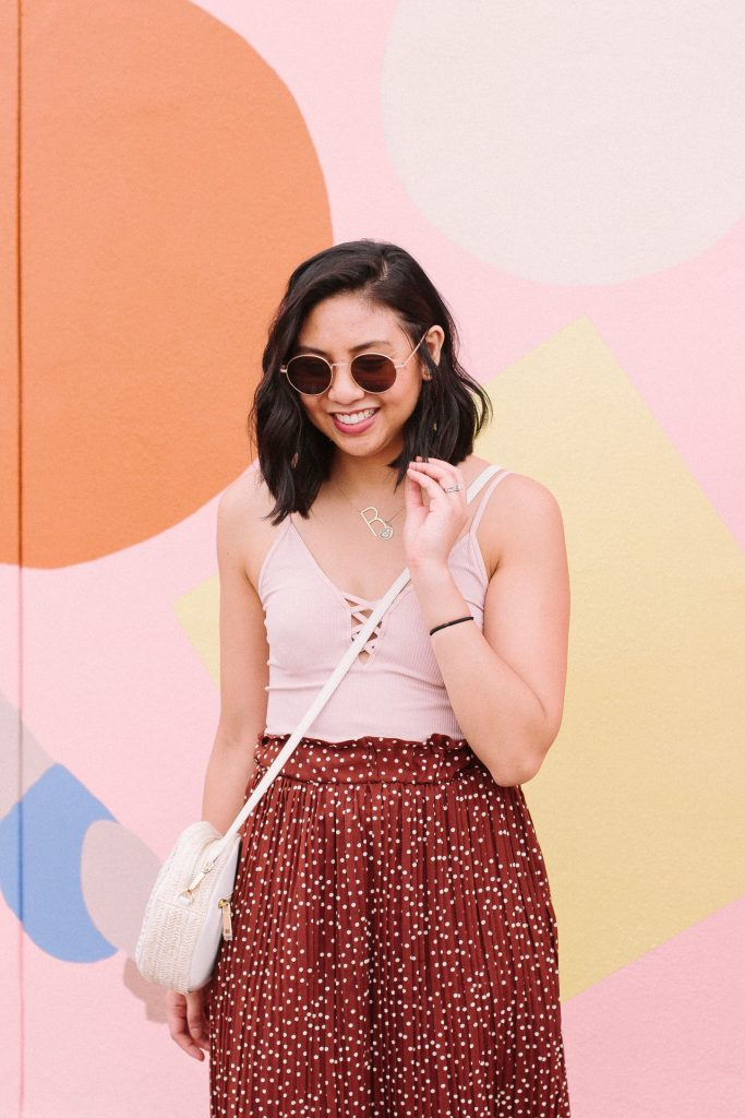 The Brown Polka Dot Skirt I Didn't Expect To Like. How to style a brown polka dot skirt. The cutest skirt for Spring.