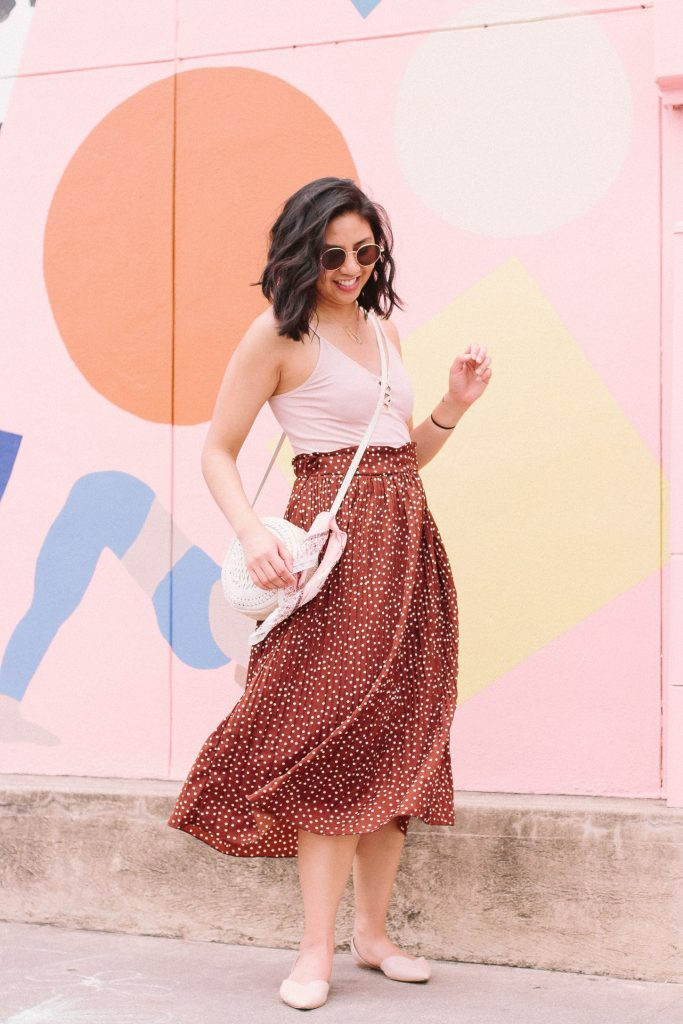 The Brown Polka Dot Skirt I Didn't Expect To Like. How to style a brown polka dot skirt. The cutest skirt for Spring