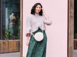 Clever Way to Style A Green Polka Dot Skirt In Cooler Temperatures. Amazon Polka Dot Skirt