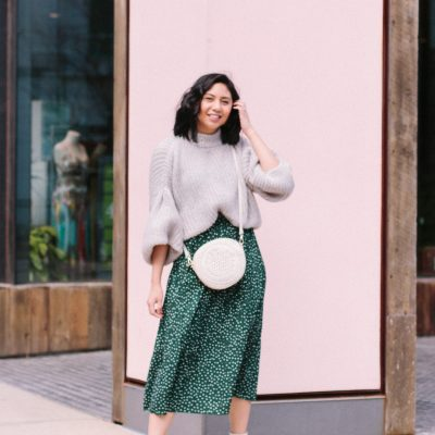 Clever Way to Style A Green Polka Dot Skirt In Cooler Temperatures
