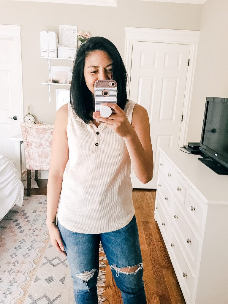 Chic Amazon Tops Under $20. Affordable waffle knit top.