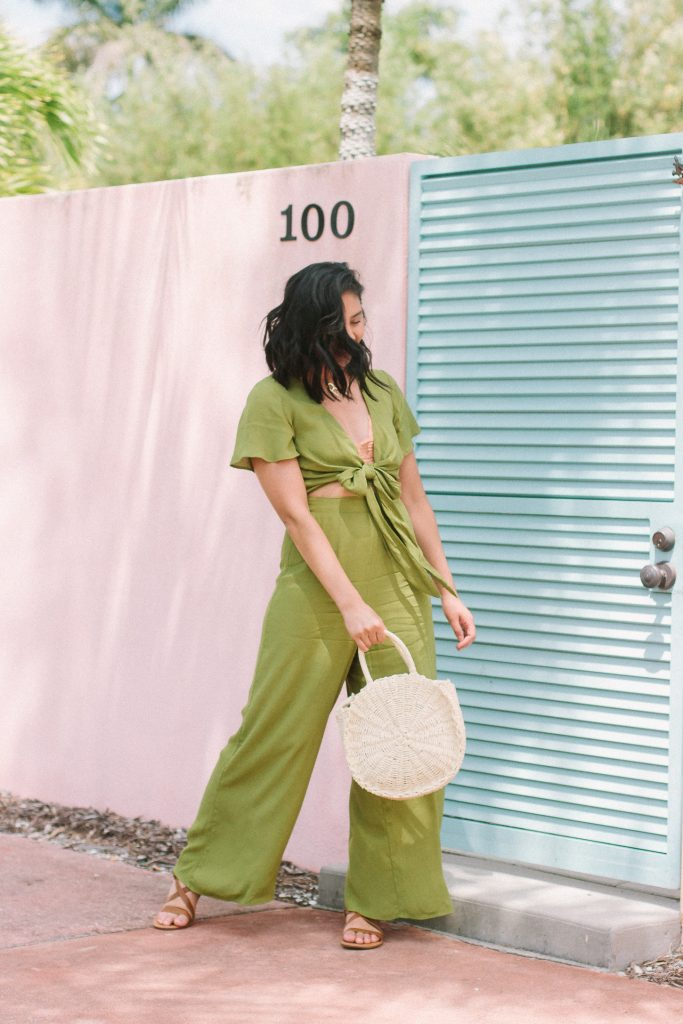 A Must-Have Tropical Getaway Outfit - Show Me Your Mumu Jumpsuit & Straw Bag: Amazon