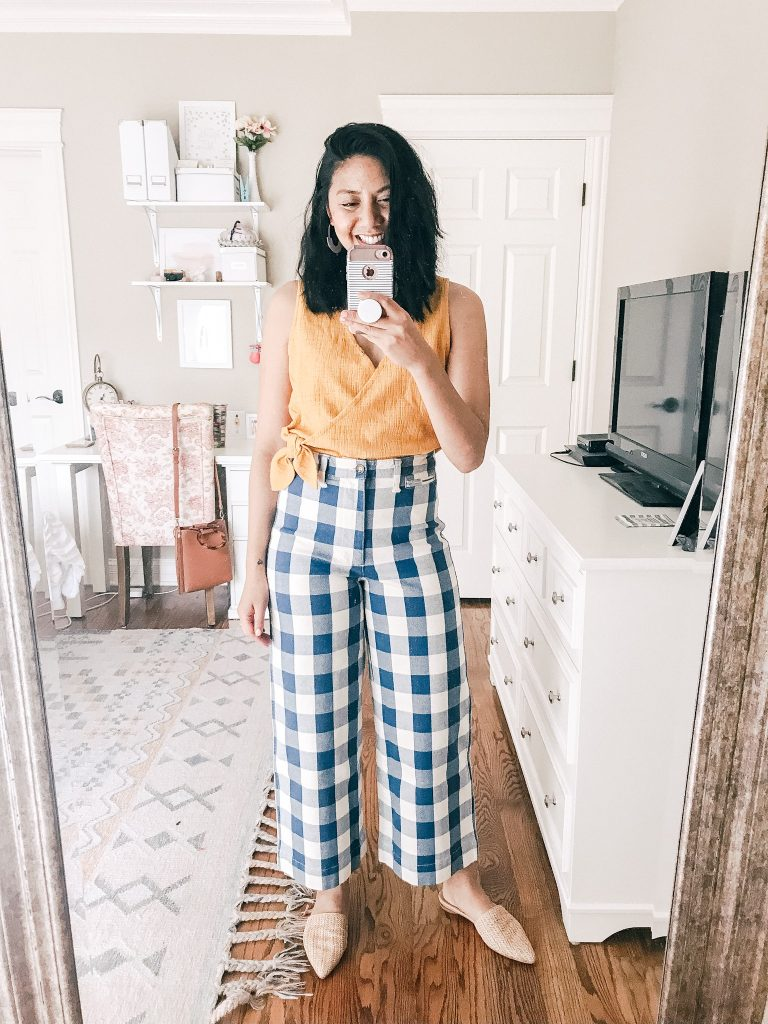 Madewell Emmett Wide-Leg Pants and Wrap Top.