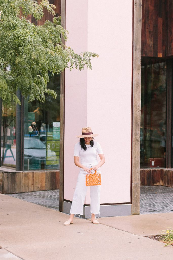 Universal Standard white on white outfit on a female