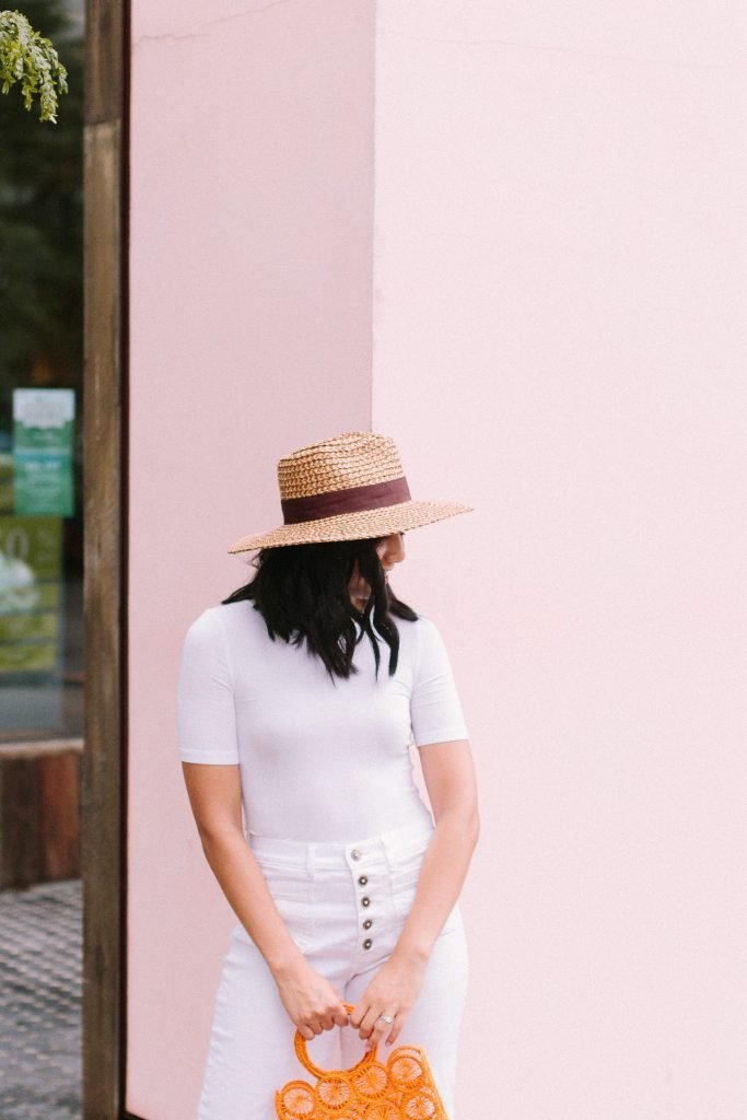 The perfect white tee and a girl in a straw hat