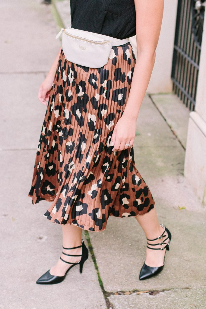 leopard print skirt and a fanny pack