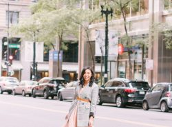 How to wear summer dresses in Fall with a plaid blazer.