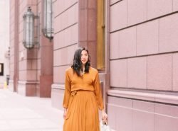 The Perfect Satin Pleated Shirtdress for Under $100.