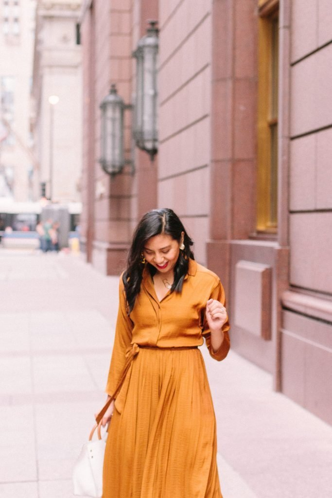 The Perfect Satin Pleated Shirtdress for Under $100