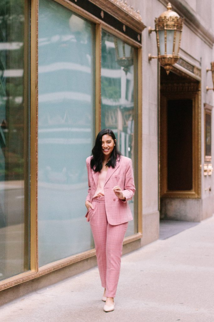 pink power suit outfit