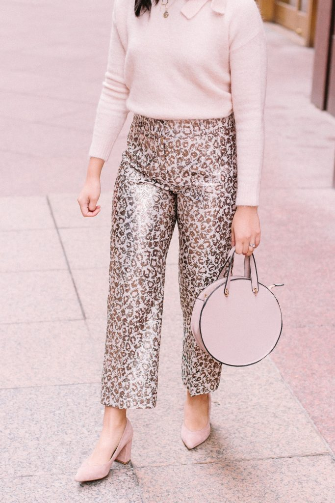 Pink Leopard Print Pants. Chic statement pants to wear to work.