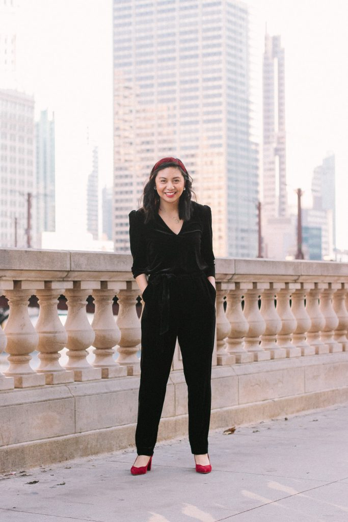 How to style a velvet jumpsuit for the holidays