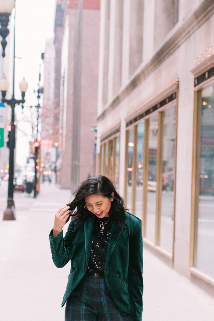How to style velvet blazer.