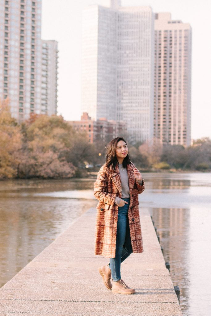 An Eco-Friendly Plaid Coat