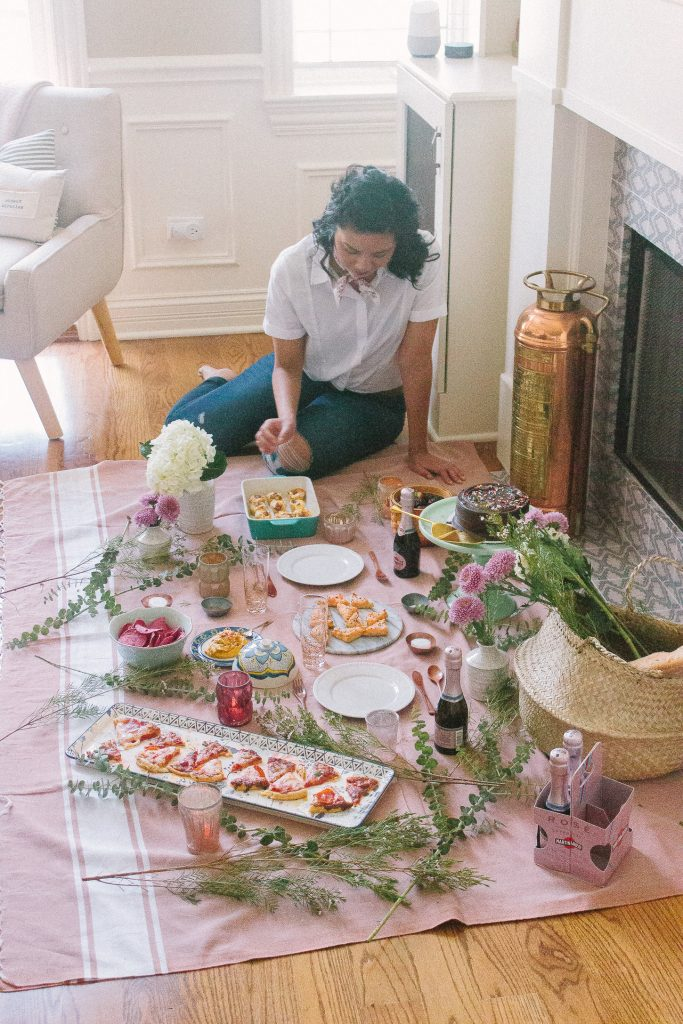 Create an indoor picnic