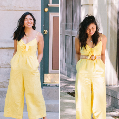 Two Different Ways To Style A Yellow Linen Jumpsuit