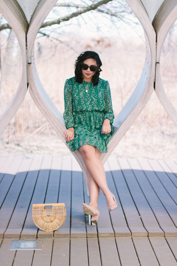 Green Floral Mini Dress
