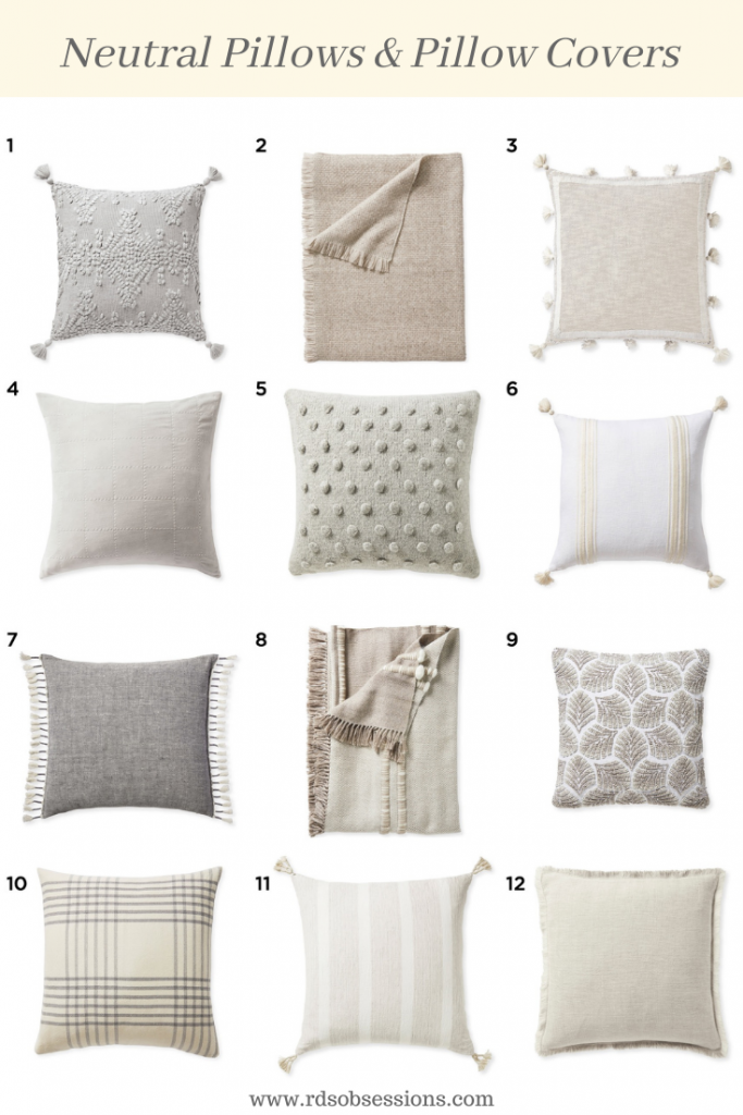 Neutral Pillows and Pillow Covers